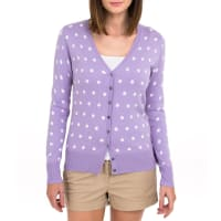 WoolOversWomens Silk and Cotton Spot V Neck Cardigan XXL Lilac
