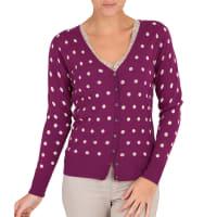 WoolOversWomens Silk and Cotton Spot V Neck Cardigan XXL Magenta