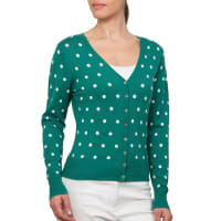 WoolOversWomens Silk and Cotton Spot V Neck Cardigan XXL Marine Green