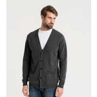 WoolOversMens Lambswool V Neck Cardigan XXL Charcoal