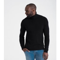 WoolOversMens Cashmere and Merino Polo Neck Jumper XXL Black