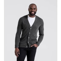 WoolOversMens Cashmere and Merino V Neck Cardigan XXL Charcoal