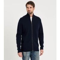 WoolOversMens Lambswool Lincoln Zipper Cardy XXL Navy