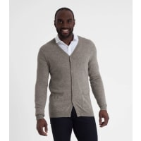 WoolOversMens New Cashmere V Neck Cardigan XXL Grey Marl