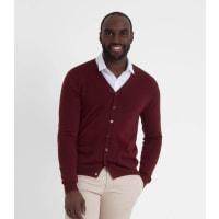 WoolOversMens New Merino V Neck Cardigan XXL Burgundy
