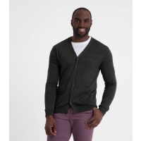 WoolOversMens New Merino V Neck Cardigan XXL Charcoal
