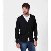 WoolOversMens New Merino V Neck Cardigan XXL Black