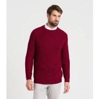 WoolOversMens Pure Wool Fishermans Rib Jumper XXL Burgundy