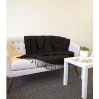 WoolOversPure Wool Fringed Blanket 1size Black