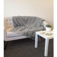 WoolOversPure Wool Fringed Blanket 1size Grey Marl