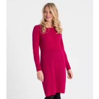 WoolOversWomens Cashmere and Merino Rib Detail Dress XL Hot Pink