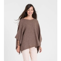 WoolOversWomens Cashmere and Merino Ribbed Poncho 1size Mocha Pink