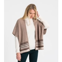 WoolOversWomens Lambswool Double Layer Knit Wrap 1size Mink/Brown Marl