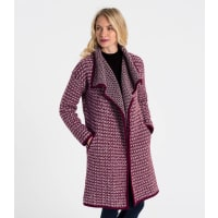 WoolOversWomens Lambswool Waterfall Coatigan XL Burgundy/Stone