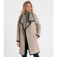 WoolOversWomens Lambswool Waterfall Coatigan XL Mink/Cream