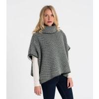 WoolOversWomenswear Lambswool Chunky Poncho 1size Dark Olive/Cream