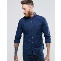 WranglerSchmales Westernhemd in hellem Indigo - Marineblau