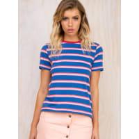 WranglerWomens Wrangler Poppy Stripe Tee Red/Blue 6