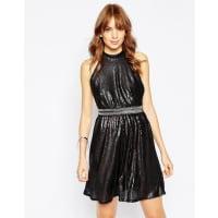 WyldrWyldr Backroom Skater Dress In Sequins - Black