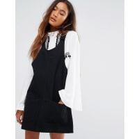 Young BohemiansDenim Pinafore Dress - Black