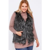 Yours ClothingBlack Faux Fur Gilet With Tipping Detail