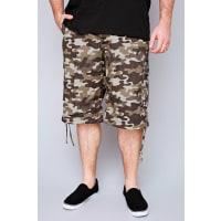 Yours ClothingNOIZ Brown & Khaki Camo Print Cotton Cargo Shorts With Pockets