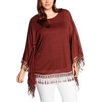 Yours ClothingWomens Crochet Tassle Poncho