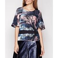 YumiBedrukte blouse met korte mouwen