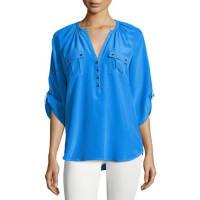 Yumi KimSilk 3/4-Sleeve Blouse, Blue