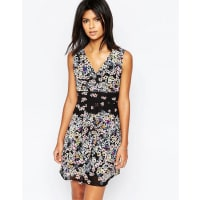 YumiWrap Front Dress In Tropical Floral Border Print - Multi