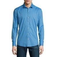 Zachary PrellLong-Sleeve Checked Woven Sport Shirt, Blue