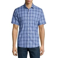 Zachary PrellPlaid Short-Sleeve Woven Shirt, Blue/Navy