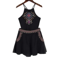 ZafulBackless Spaghetti Straps Tank Top and Embroidery Shorts Twinset