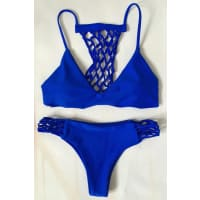 ZafulBlue Hollow Out Cami Bikini Set