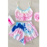 ZafulColored Cami Crop Top and Flouncy Shorts Swimsuit