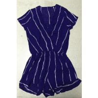 ZafulCross Over Collar Striped Playsuit