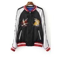 ZafulEmbroidered Reversible Baseball Jacket