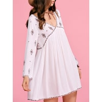 ZafulEthnic Embroidery Plunging Neck Long Sleeve Dress