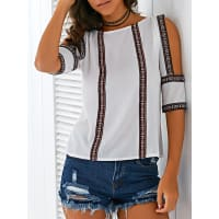 ZafulEthnic Embroidery Scoop Neck Hollow Blouse