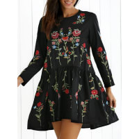 ZafulFloral Embroidered Long Sleeve Drap Dress