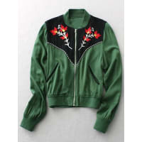 ZafulFloral Embroidery Long Sleeve Stand Neck Jacket
