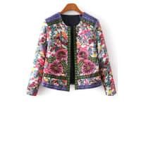 ZafulFlower Print Embroidery Jacquard Long Sleeves Jacket