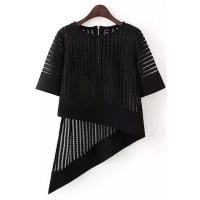ZafulIrregular Hem Half Sleeve Hollow Out T Shirt