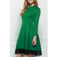 ZafulLacework Splicing Stand Collar Long Sleeves Dress