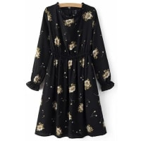 ZafulRetro Floral Print Round Neck Long Sleeve Dress