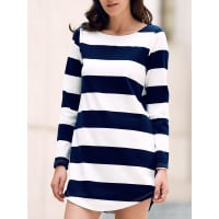 ZafulStripe Round Neck Long Sleeve Dress