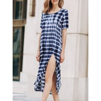 ZafulTie Dyed Round Collar Short Sleeve High Slit Dress