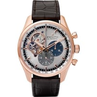 ZenithEl Primero Chronomaster 1969 Rose Gold And Alligator Watch - Silver