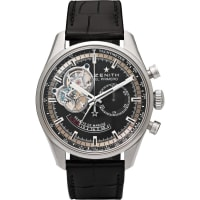 ZenithEl Primero Chronomaster Stainless Steel And Alligator Watch - Black