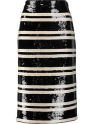Alice & OliviaRue Striped Sequined Georgette Pencil Skirt - Black